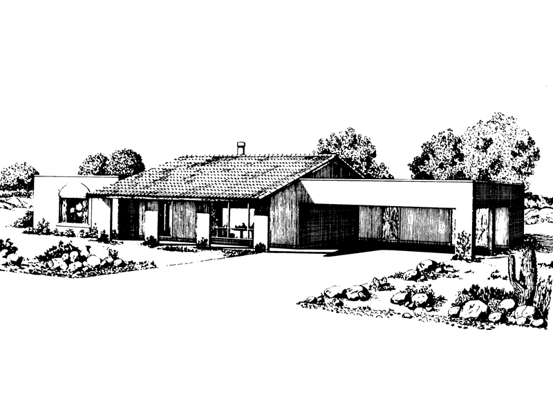 Ranch House Plan Front of Home - 072D-1019 | House Plans and More