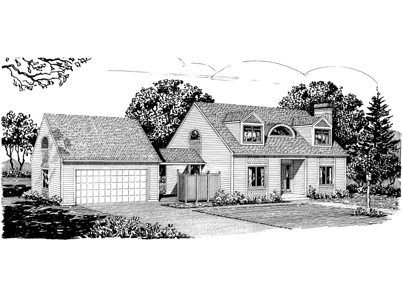 Traditional House Plan Front of Home - 072D-1021 | House Plans and More