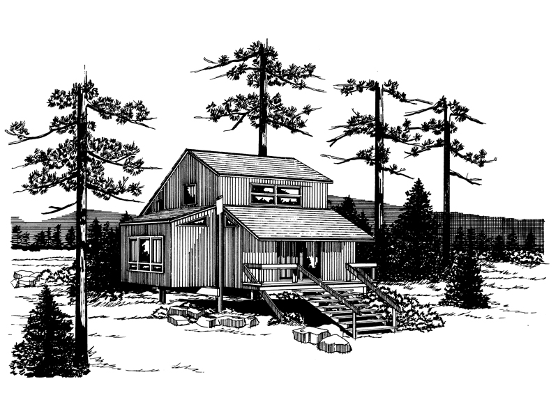 Cabin and Cottage Plan Front of Home - 072D-1035 | House Plans and More