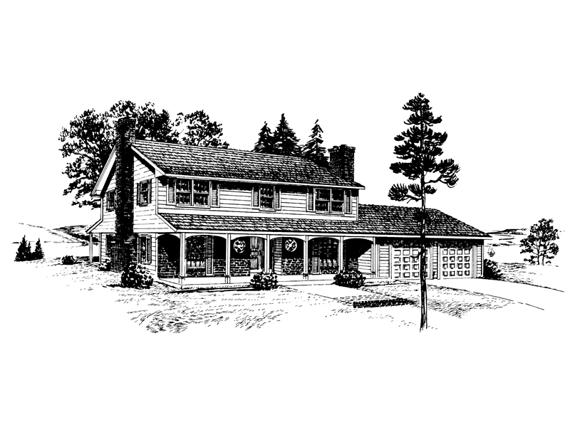Farmhouse Plan Front of Home - 072D-1037 | House Plans and More
