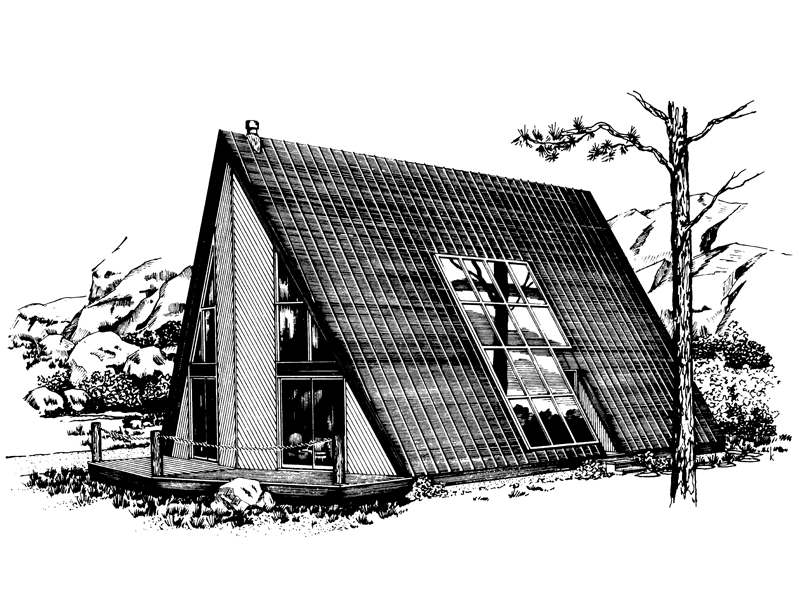 Grants Cabin A-Frame Home Plan 072D-1095 | House Plans and ...