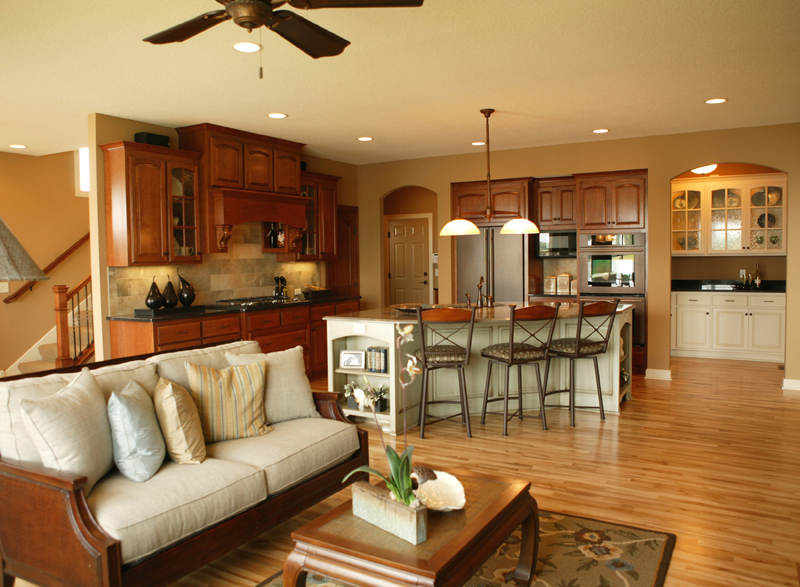 Open floor floor plans and open floor plans on pinterest for Living room kitchen open floor plan