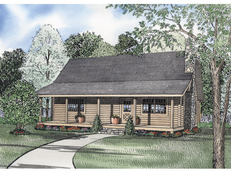 Log House Plan Front of Home 073D-0001