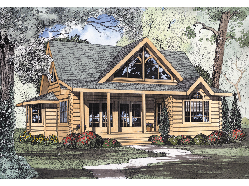 Logan creek log cabin home plan 073d 0005 house plans for Log cabin house plans with garage