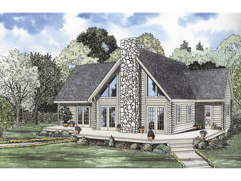 Log House Plan Front of Home 073D-0012