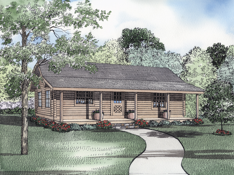 Log House Plan Front of Home 073D-0016