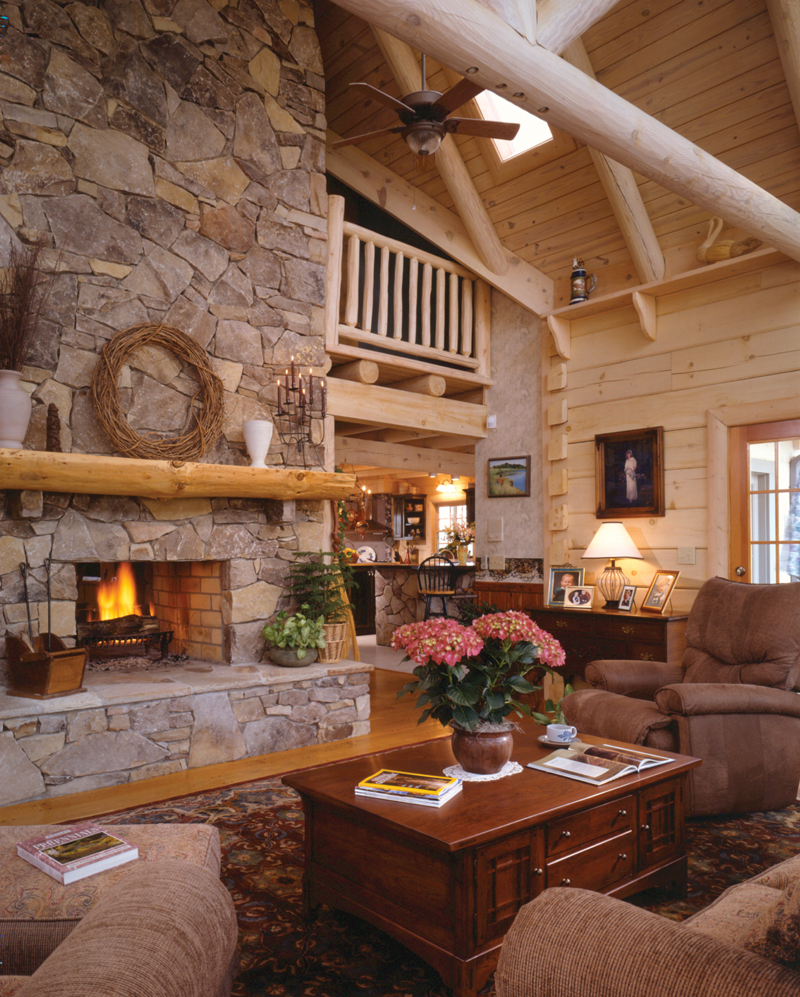 Log Cabin Plan Fireplace Photo 01 073D-0021
