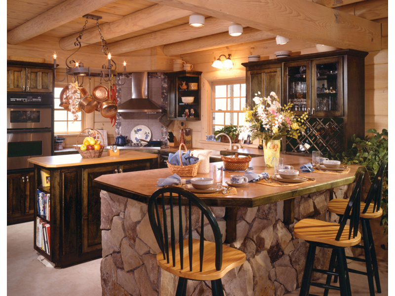 Sitka rustic country log home plan 073d 0021 house plans for Country kitchen home plans