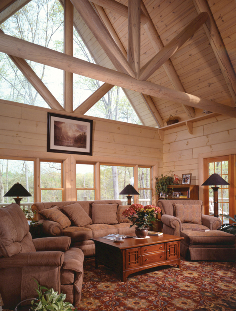 Log Cabin House Plan Living Room Photo 01 073D-0021