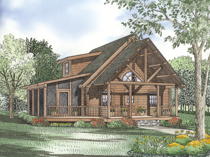 Log Cabin Plan Front of Home 073D-0023