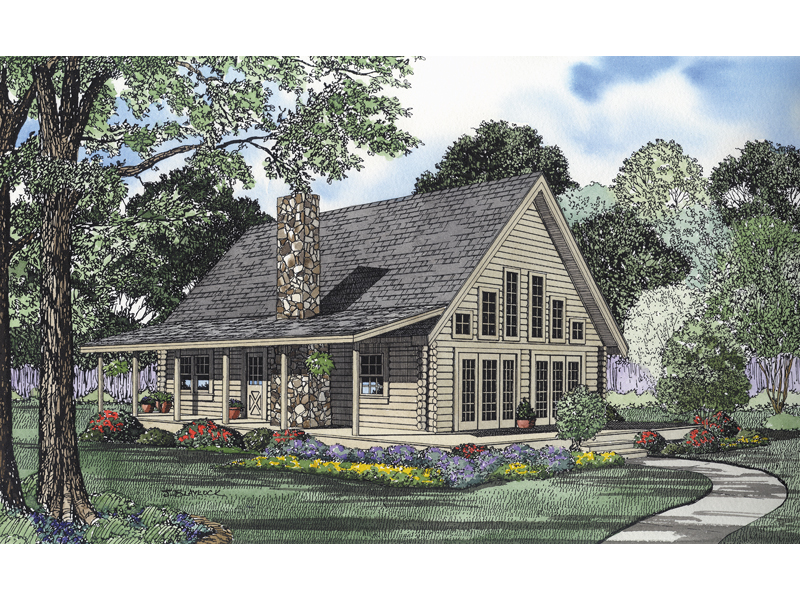 Log House Plan Front of Home 073D-0024