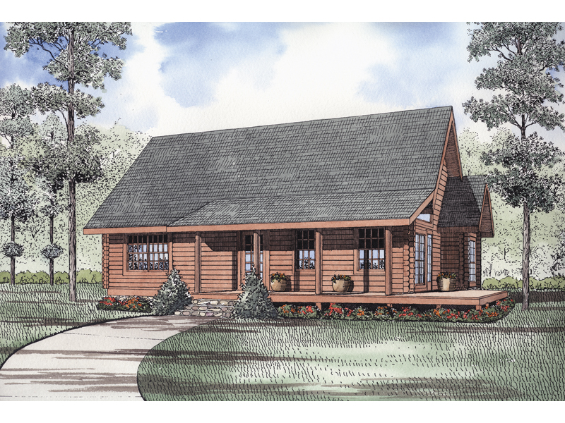 Log House Plan Front of Home - 073D-0025 | House Plans and More