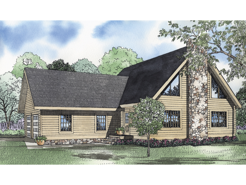 Stone Fireplace Adds To A-Frame Plan