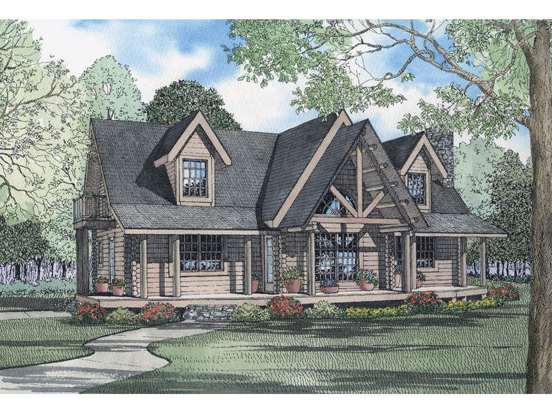 Log House Plan Front of Home 073D-0039
