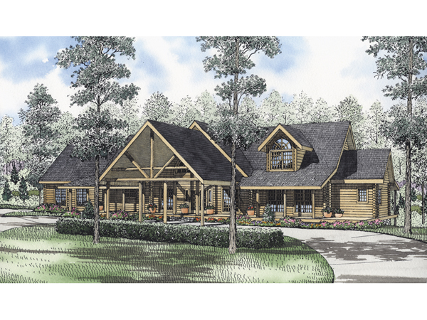 . Amherst Terrace Luxury Log Home Plan 073D 0040   House Plans and More