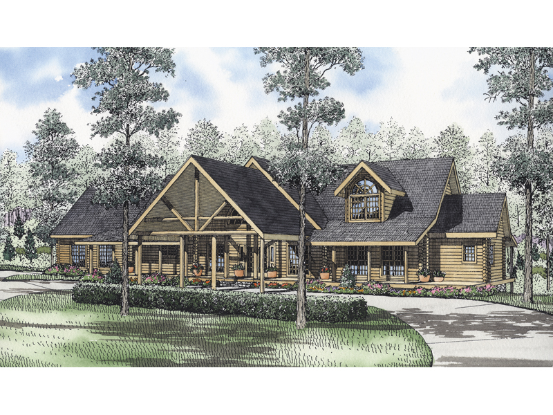 Log House Plan Front of Home 073D-0040