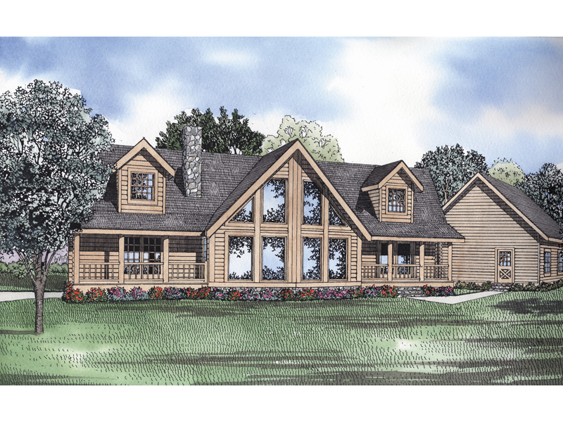 Log House Plan Front of Home 073D-0044