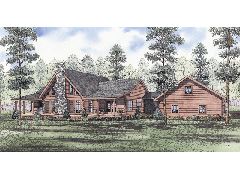 Rustic Log Home With Central Stone Fireplace Evans Hollow Plan 073D 0046  House Plans and More