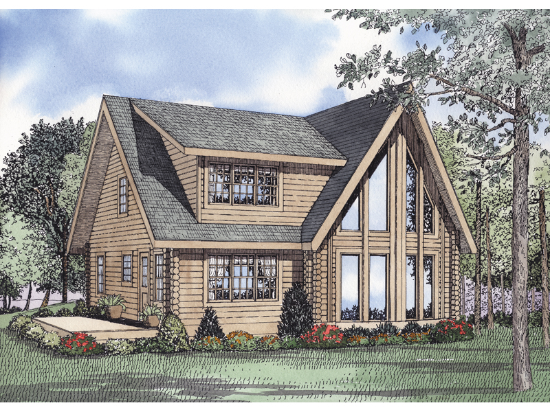 Log Cabin House Plan Front of Home 073D-0049