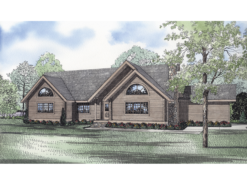 Cabin and Cottage Plan Front of Home 073D-0054