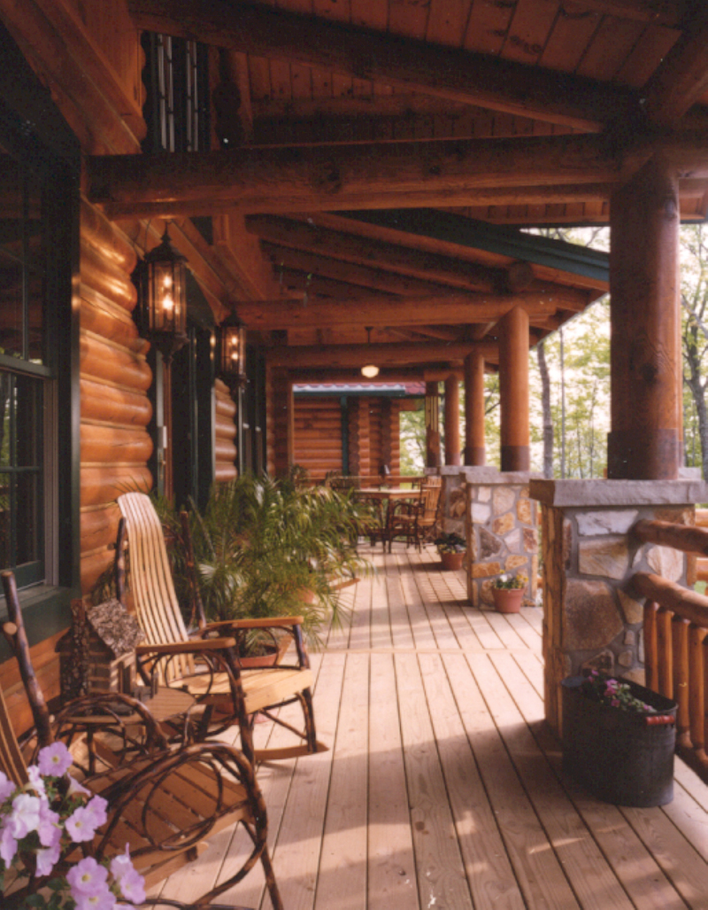 Duck bay luxury log home plan 073d 0055 house plans and more for Log home porches