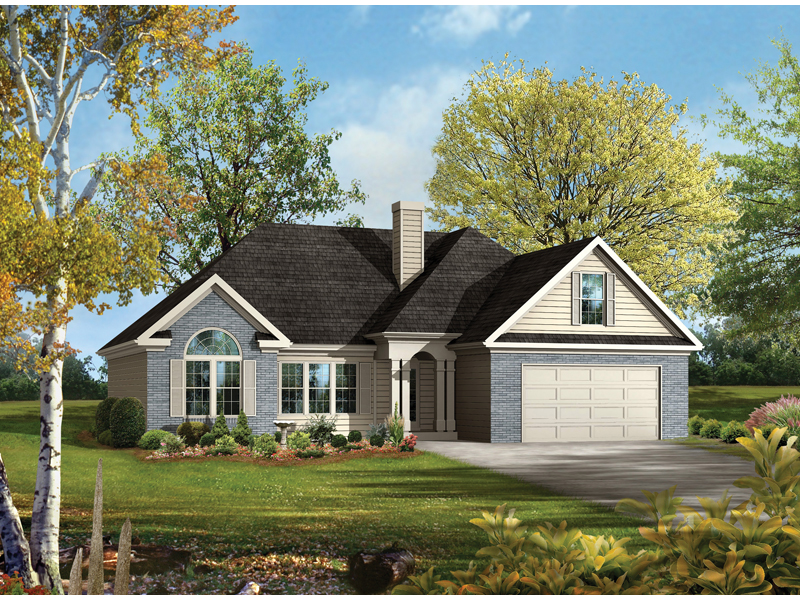 Ranch House Plan Front of Home - 076D-0005 | House Plans and More