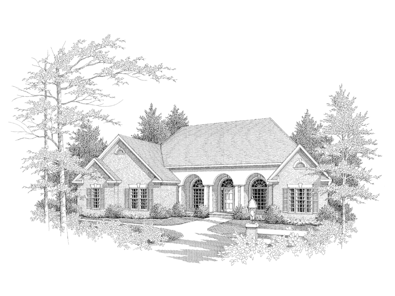Ranch House Plan Front of Home - 076D-0082 | House Plans and More