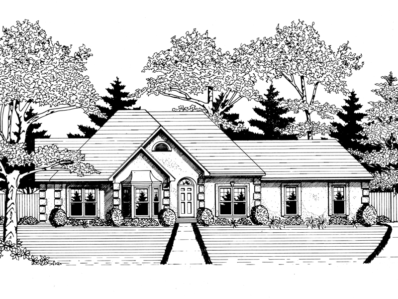 Ranch House Plan Front of Home - 076D-0101 | House Plans and More