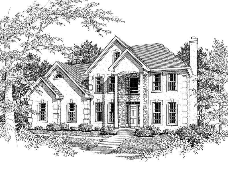 Traditional House Plan Front of Home - 076D-0102 | House Plans and More
