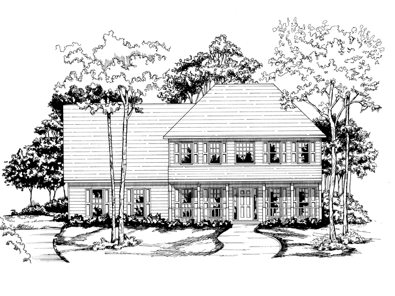 Traditional House Plan Front of Home - 076D-0113 | House Plans and More