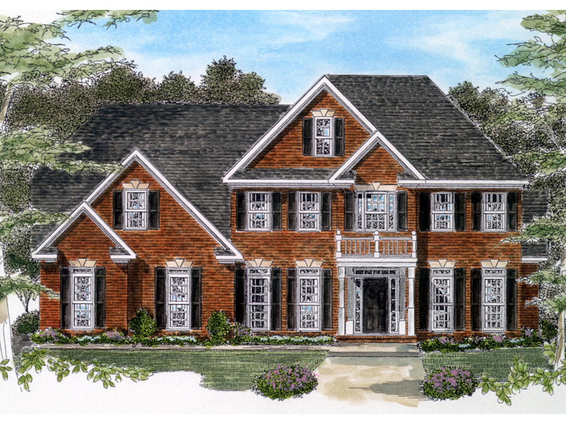 Colonial House Plan Front of Home - 076D-0116 | House Plans and More