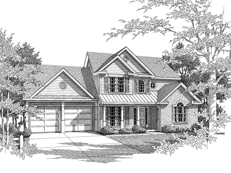 Traditional House Plan Front of Home - 076D-0117 | House Plans and More