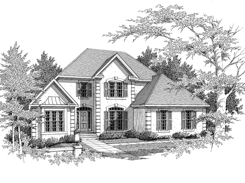 European House Plan Front of Home - 076D-0123 | House Plans and More
