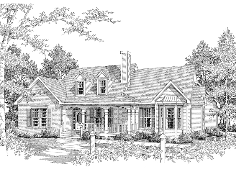 Ranch House Plan Front of Home - 076D-0124 | House Plans and More