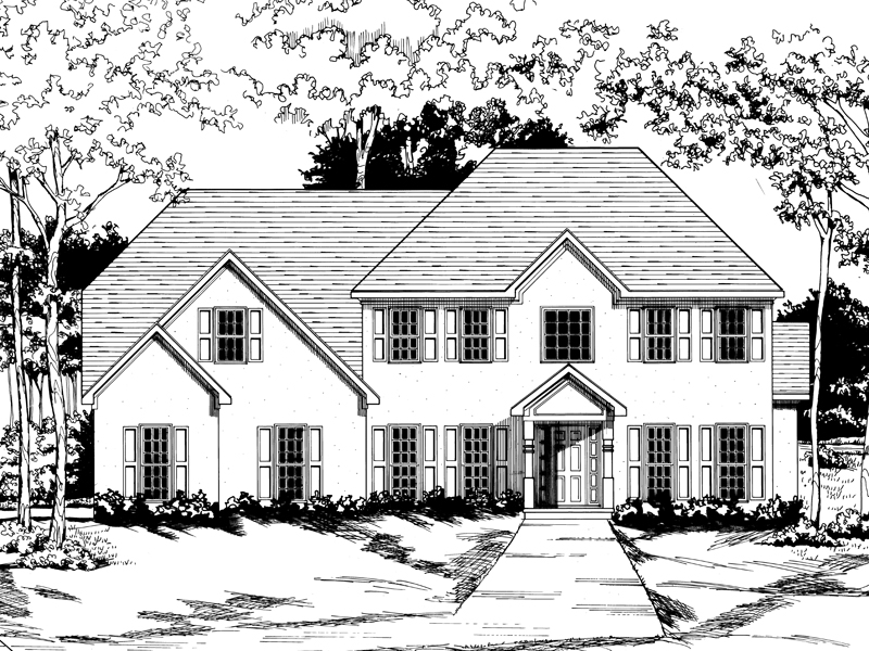 Traditional House Plan Front of Home - 076D-0128 | House Plans and More