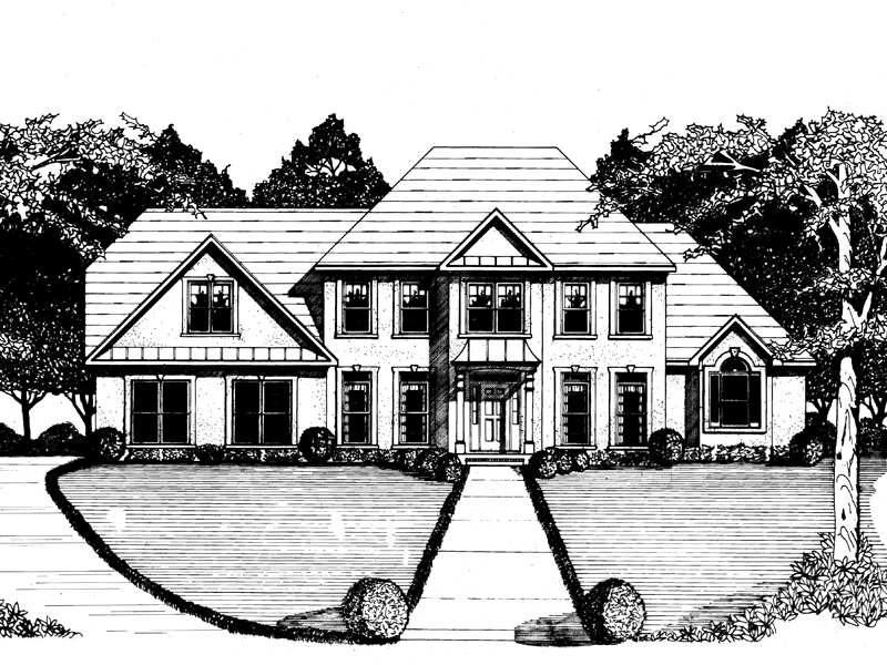 Traditional House Plan Front of Home - 076D-0130 | House Plans and More