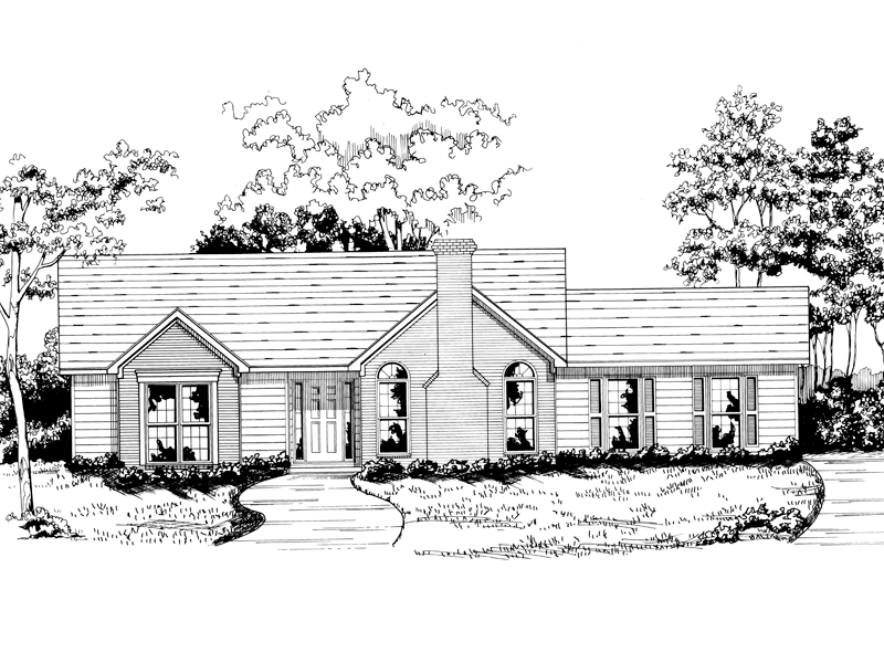 Traditional House Plan Front of Home - 076D-0133 | House Plans and More