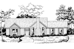 Ranch House Plan Front of Home - 076D-0133 | House Plans and More
