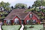 Ranch House Plan Front of Home - 076D-0134 | House Plans and More