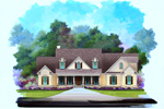 Ranch House Plan Front of Home - 076D-0135 | House Plans and More