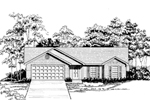 Ranch House Plan Front of Home - 076D-0136 | House Plans and More