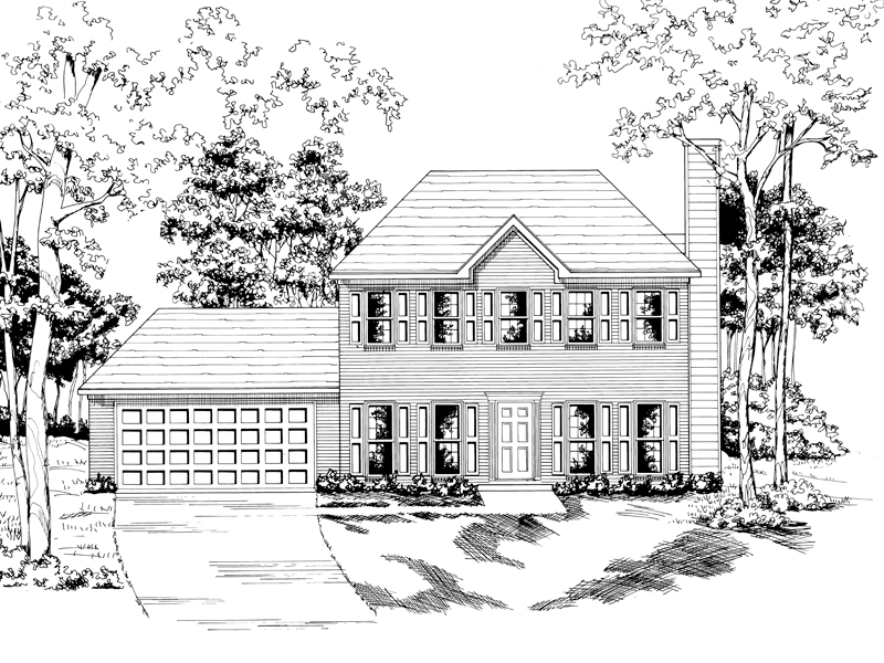 Georgian House Plan Front of Home - 076D-0138 | House Plans and More