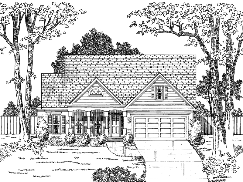 Traditional House Plan Front of Home - 076D-0152 | House Plans and More