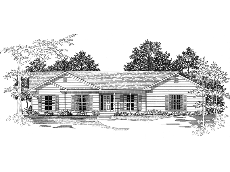 Ranch House Plan Front of Home - 076D-0158 | House Plans and More