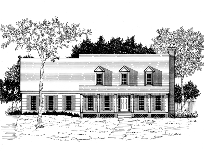 Triple Dormers And A Wide Covered Porch Offer Cape Cod Style