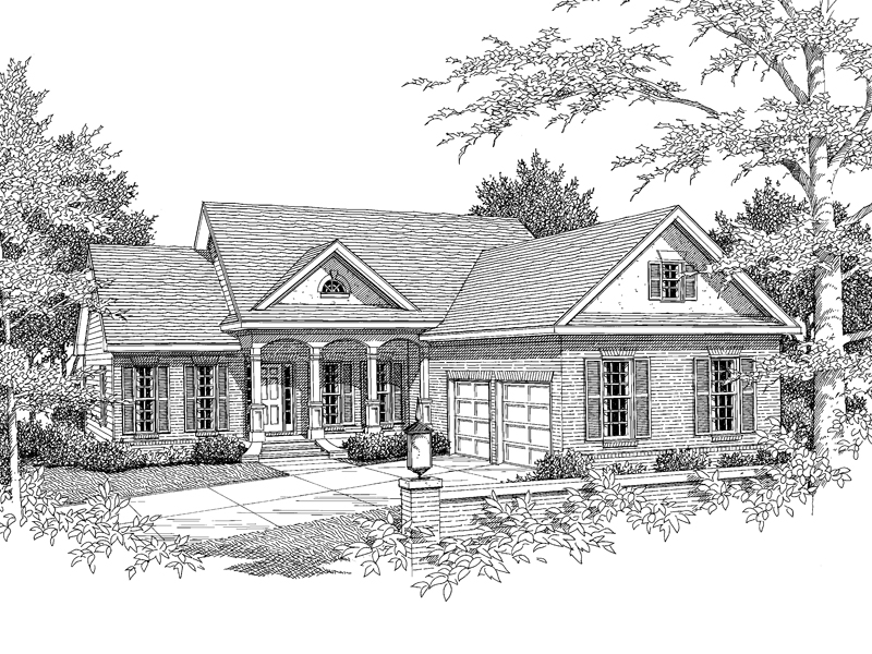 Traditional House Plan Front of Home - 076D-0176 | House Plans and More