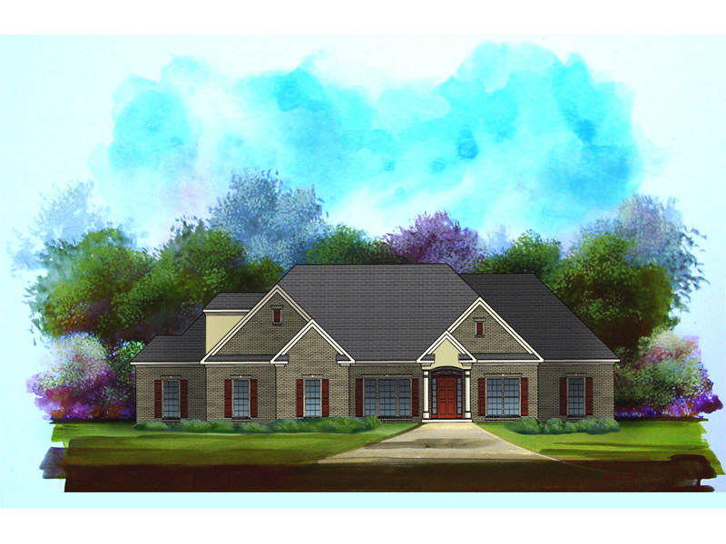 Ranch House Plan Front of Home - 076D-0193 | House Plans and More