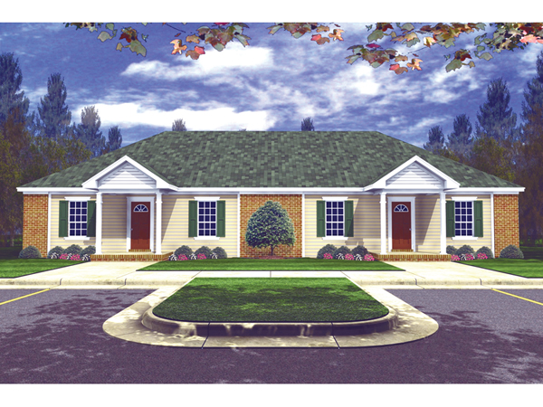 Valentino ranch duplex home plan 077d 0010 house plans for Ranch style duplex plans