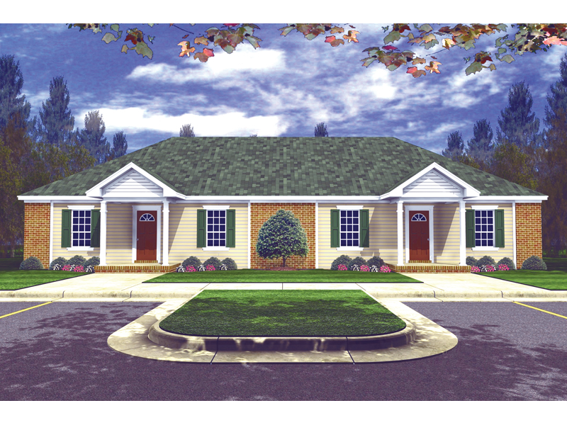 Ranch House Plan Front of Home - 077D-0010 | House Plans and More