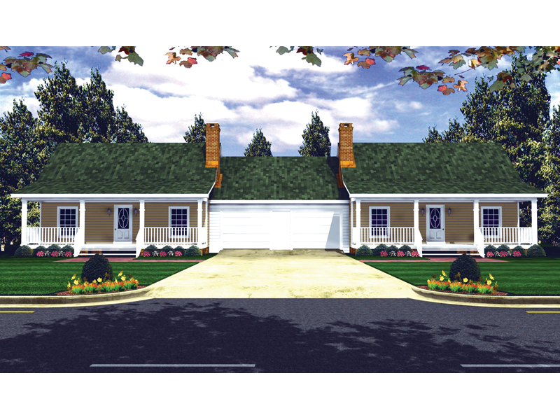 Symmetrical Country Style Duplex With Center Garage